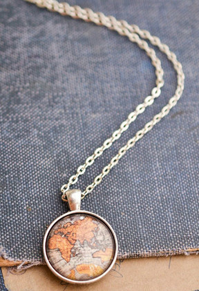 living freely necklace antique map