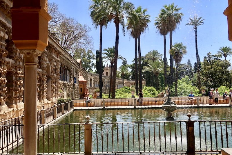 gardens and pond real de alcazar de sevilla